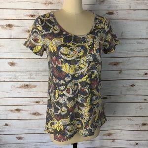 LuLaRoe Grey & Yellow Print Classic T Top